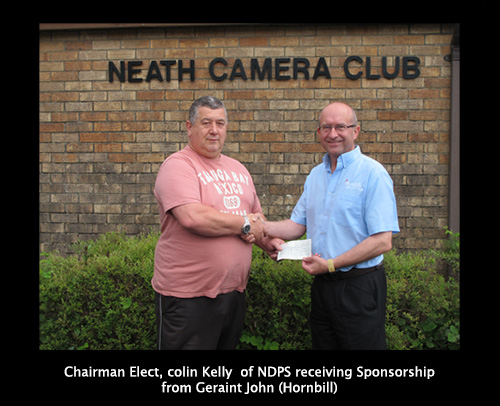 Elect of NDPS receiving Sponsorship from Geraint John (Hornbill)
